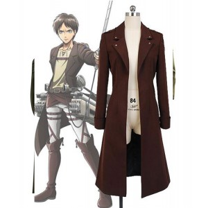 Attack on Titan : Brown Long Manteau Eren Jager Costume Cosplay