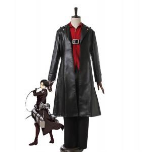 Attack On Titan : Noir Coat Manteau Levi Costume Cosplay Achat