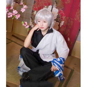 Gintama : Noir Et Blanc Sakata Gintoki Costume Cosplay