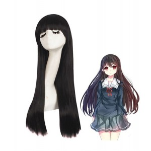 Kyoukai No Kanata : Long Noir Wig Nase Mitsuki Cosplay Achat