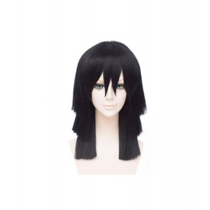 Demon Slayer : Kimetsu no Yaiba Cheveux Longs Et Raides Wig Iguro Obanai Cosplay