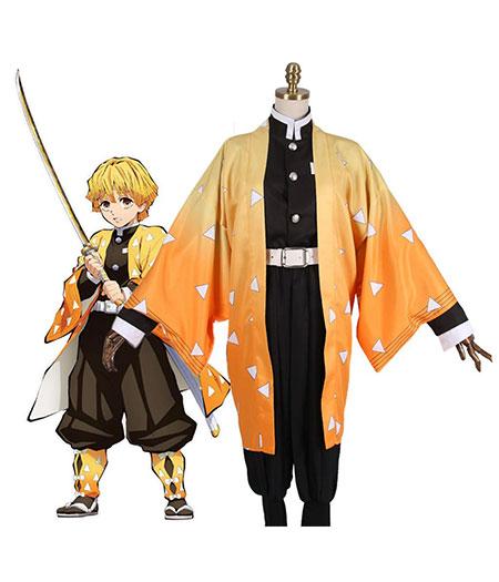 Demon Slayer : Kimetsu no Yaiba Agatsuma Zenitsu Costume Kit Cosplay