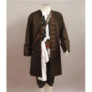 Pirates of the Caribbean : Long Brown Jack Sparrow Veste Costumes Cosplay Achat