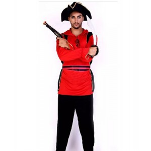 Pirates of the Caribbean : Rouge Chemise Noire Chapeau Costume Cosplay Acheter
