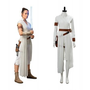 Star Wars IX : Rey Blanc Long Costume Cosplay Vente Pas Cher