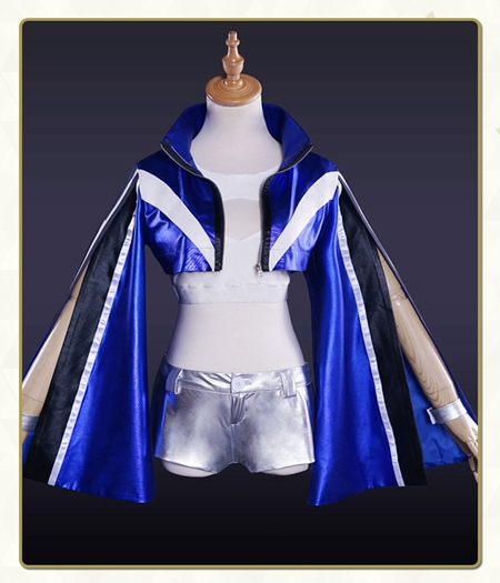 Fate/Grand Order : Ensemble Complet Costume Tamamo-no-Mae Bleu Kit Cosplay